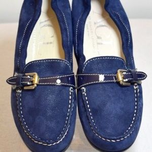 Navy Shimmer Suede Leather Buckle Flats Size: EU 3